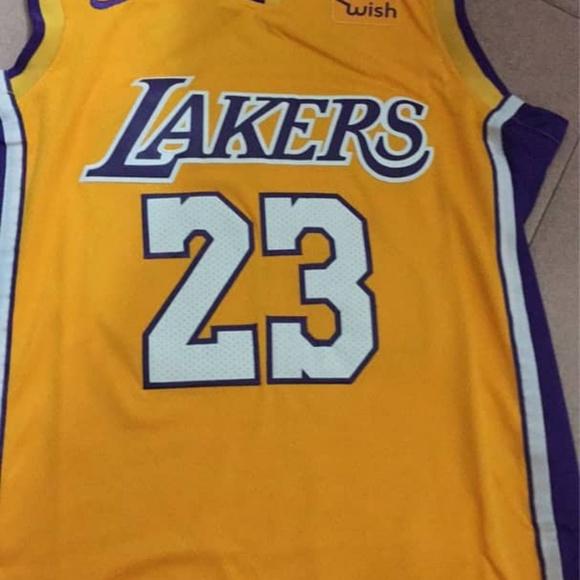 faf9992a6 Lebron James Lakers LA  23 Gold Stitched Jersey